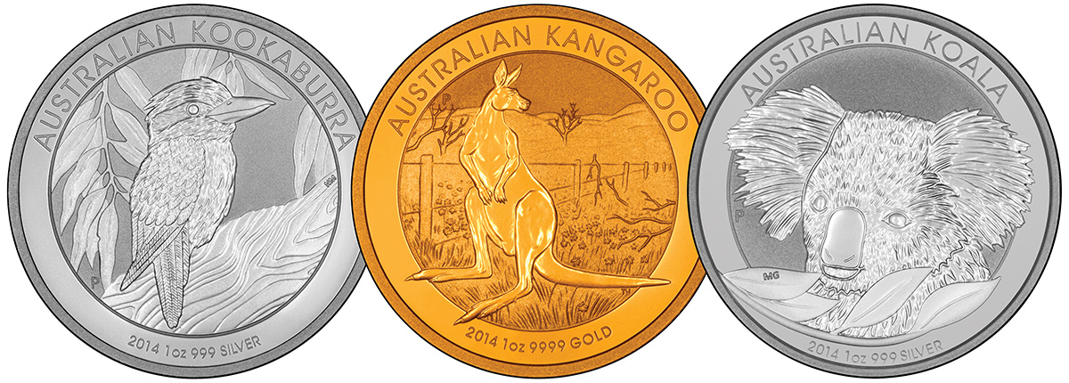 Reverse Designs of 2014 Australian Silver & Gold Bullion Coins