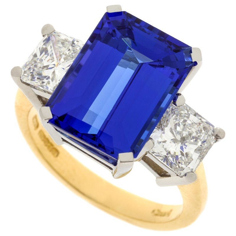 7.82ct Tanzanite and Diamond Three Stone Ring