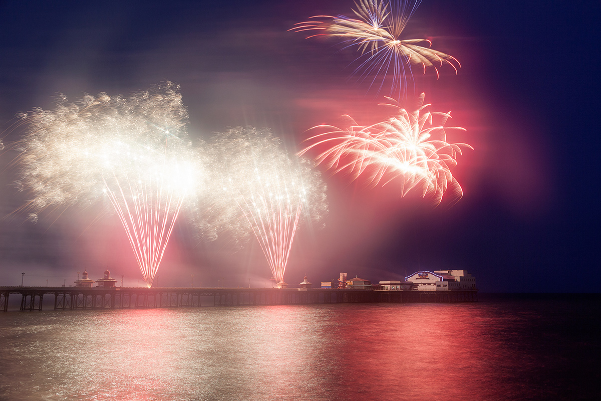 Spectacular display of light and colour above North Pier as Linders Pyrotechnics from Sweden open Blackpool's World Fireworks Championships 2014.