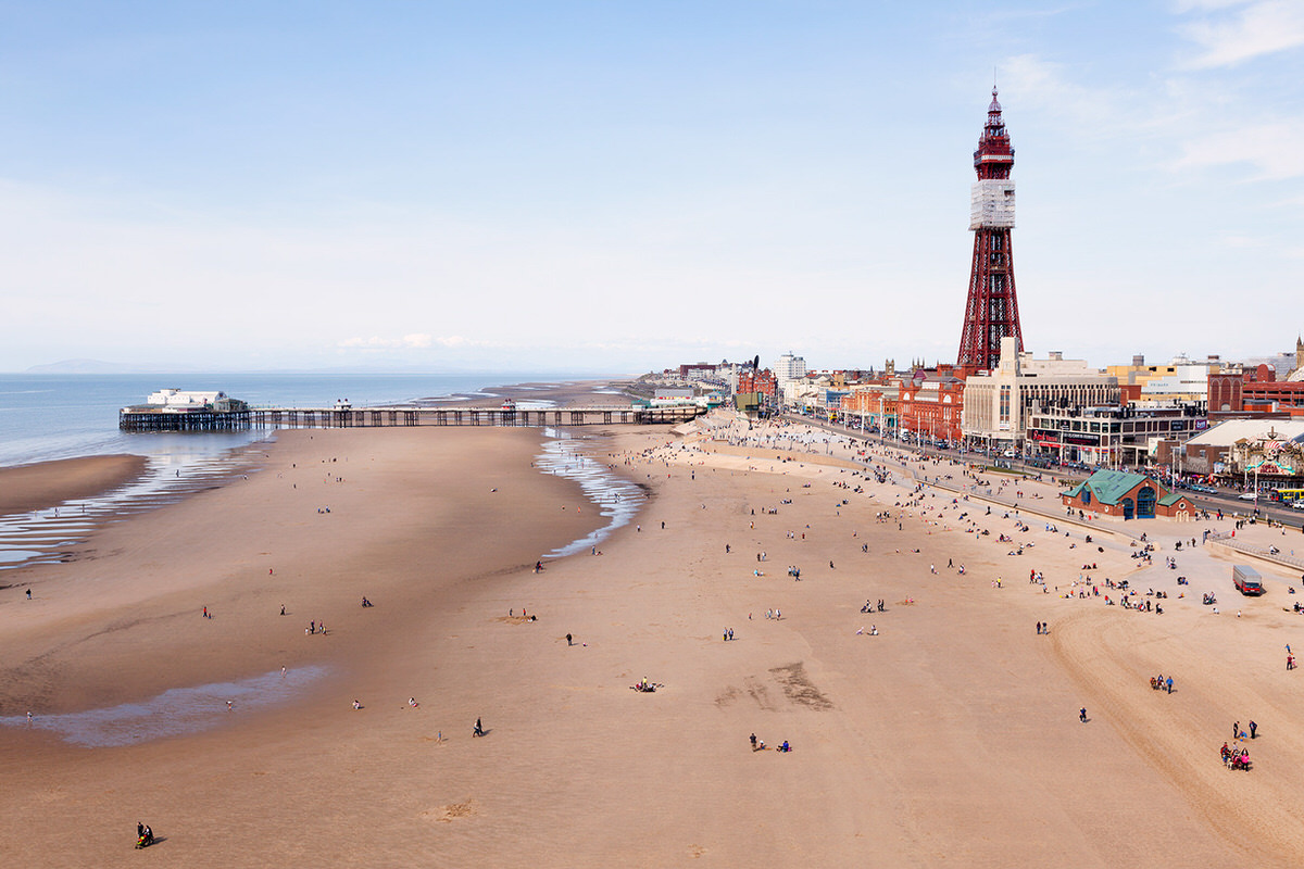 Aerial view of Blackpool from Central Pier Wheel