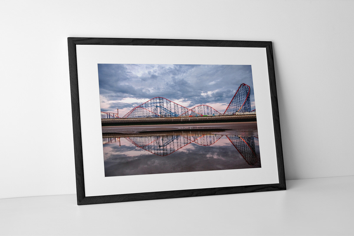 Pleasure Beach Reflection Photographic Print In Black Frame By Yannick Dixon
