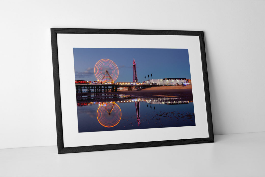 Reflections of Blackpool Photographic Print In Black Frame By Yannick Dixon