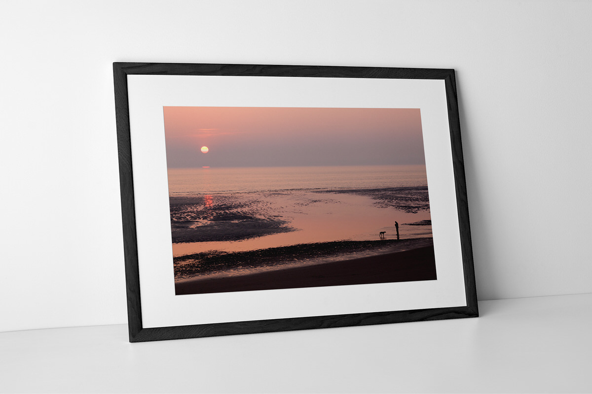 Blackpool Sunset Silhouettes Photographic Print In Black Frame By Yannick Dixon
