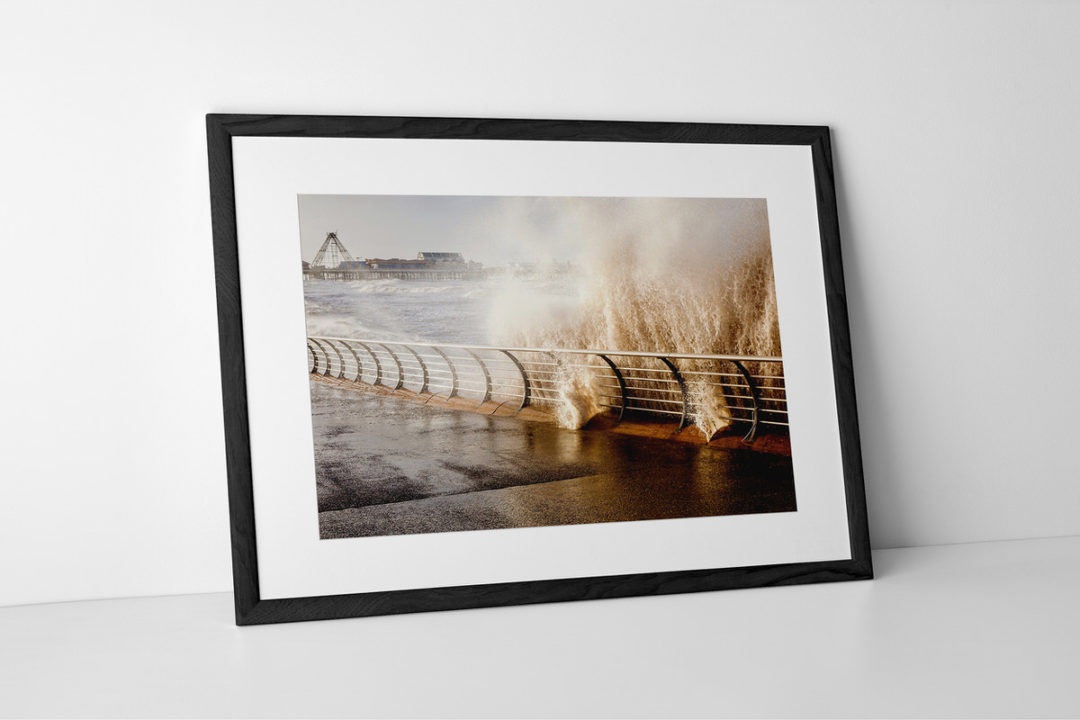 Blackpool Rising Tide Photographic Print Presented In Black Frame By Yannick Dixon